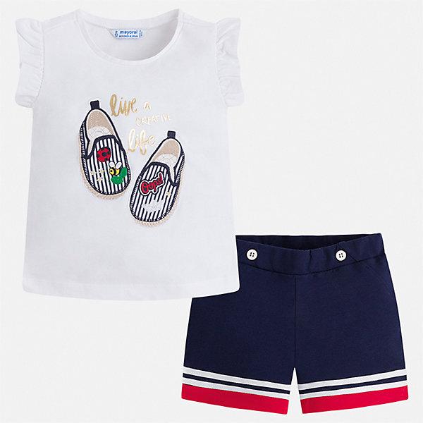 Купить Комплект:шорты, футболка Mayoral для девочки, Индия, синий, 92, 134, 128, 122, 116, 110, 104, 98, Женский
