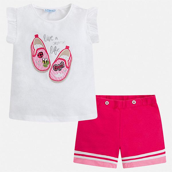 Комплект:шорты,футболка Mayoral для девочкиКомплекты<br>Характеристики товара:<br><br>• цвет: мульти<br>• комплектация: шорты, футболка<br>• состав ткани: 92% хлопок, 8% эластан<br>• сезон: лето<br>• короткие рукава<br>• страна бренда: Испания<br>• стиль и качество Mayoral<br><br>Такой легкий комплект - детские шорты и блузка - подойдет для ношения в разных случаях. Отличный способ обеспечить ребенку комфорт в жаркую погоду - надеть этот комплект от Mayoral. Детские шорты и блузка сшиты из качественного материала с преобладанием хлопка в составе. <br><br>Комплект: шорты, блузка Mayoral (Майорал) для девочки можно купить в нашем интернет-магазине.<br>Ширина мм: 191; Глубина мм: 10; Высота мм: 175; Вес г: 273; Цвет: розовый; Возраст от месяцев: 18; Возраст до месяцев: 24; Пол: Женский; Возраст: Детский; Размер: 92,134,128,122,116,110,104,98; SKU: 7548858;