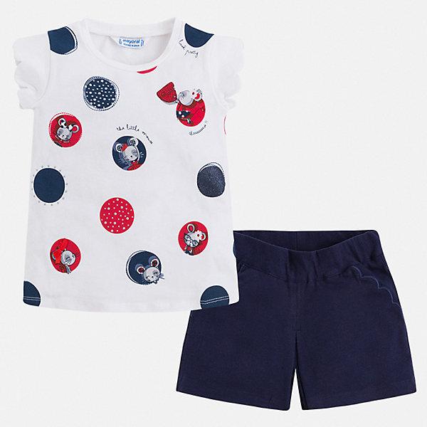 Комплект:шорты,футболка Mayoral для девочкиКомплекты<br>Характеристики товара:<br><br>• цвет: синий<br>• комплектация: шорты, футболка<br>• состав ткани: 57% хлопок, 38% полиэстер, 5% эластан<br>• сезон: лето<br>• пояс: резинка<br>• короткие рукава<br>• страна бренда: Испания<br>• стиль и качество Mayoral<br><br>Удобный легкий комплект - детские шорты и блузка - подойдет для ношения в разных случаях. Отличный способ обеспечить ребенку комфорт в жаркую погоду - надеть этот комплект от Mayoral. Детские шорты и блузка сшиты из качественного материала с преобладанием хлопка в составе. <br><br>Комплект: шорты, футболка Mayoral (Майорал) для девочки можно купить в нашем интернет-магазине.<br>Ширина мм: 191; Глубина мм: 10; Высота мм: 175; Вес г: 273; Цвет: синий; Возраст от месяцев: 84; Возраст до месяцев: 96; Пол: Женский; Возраст: Детский; Размер: 128,122,116,110,98,92,104,134; SKU: 7548885;