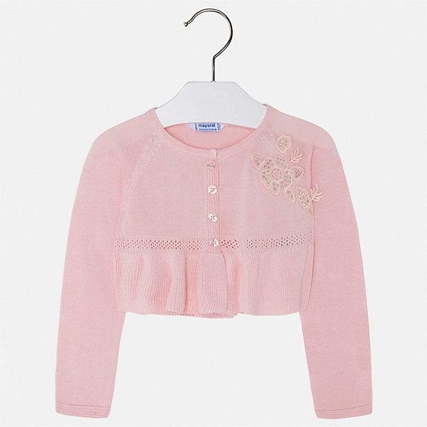 Кардиган Mayoral для девочкиСвитера и кардиганы<br>Характеристики товара:<br><br>• цвет: розовый<br>• состав ткани: 100% вискоза<br>• сезон: демисезон<br>• застежка: пуговицы<br>• длинные рукава<br>• страна бренда: Испания<br>• стиль и качество Mayoral<br><br>Этот кардиган для девочки отличается стильным продуманным дизайном. Детский кардиган сделан из качественного приятного на ощупь материала. Кардиган для ребенка - удобная вещь для создания оригинального наряда. <br><br>Кардиган Mayoral (Майорал) для девочки можно купить в нашем интернет-магазине.<br>Ширина мм: 190; Глубина мм: 74; Высота мм: 229; Вес г: 236; Цвет: красный; Возраст от месяцев: 84; Возраст до месяцев: 96; Пол: Женский; Возраст: Детский; Размер: 128,122,116,110,104,98,92,134; SKU: 7548894;