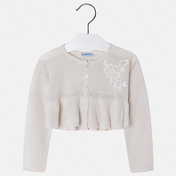 Кардиган Mayoral для девочкиСвитера и кардиганы<br>Характеристики товара:<br><br>• цвет: белый<br>• состав ткани: 100% вискоза<br>• сезон: демисезон<br>• застежка: пуговицы<br>• длинные рукава<br>• страна бренда: Испания<br>• стиль и качество Mayoral<br><br>Кардиган для ребенка поможет поставить акцент в наряде. Кардиган для девочки отличается высоким качеством пошива. Детский кардиган разработан европейскими дизайнерами бренда Mayoral с учетом последних тенденций в молодежной моде. <br><br>Кардиган Mayoral (Майорал) для девочки можно купить в нашем интернет-магазине.<br>Ширина мм: 190; Глубина мм: 74; Высота мм: 229; Вес г: 236; Цвет: бежевый; Возраст от месяцев: 72; Возраст до месяцев: 84; Пол: Женский; Возраст: Детский; Размер: 122,116,110,104,98,92,134,128; SKU: 7548912;