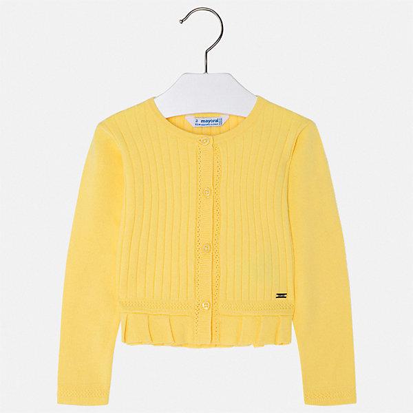Кардиган Mayoral для девочкиСвитера и кардиганы<br>Характеристики товара:<br><br>• цвет: желтый<br>• состав ткани: 80% хлопок, 17% полиамид, 3% эластан<br>• сезон: демисезон<br>• застежка: пуговицы<br>• длинные рукава<br>• страна бренда: Испания<br>• стиль и качество Mayoral<br><br>Желтый детский жакет сделан из дышащего приятного на ощупь материала с преобладанием натурального хлопка в составе. Жакет для девочки отличается стильным продуманным дизайном. Жакет для ребенка - удобная вещь для создания оригинального наряда. <br><br>Жакет Mayoral (Майорал) для девочки можно купить в нашем интернет-магазине.<br>Ширина мм: 190; Глубина мм: 74; Высота мм: 229; Вес г: 236; Цвет: желтый; Возраст от месяцев: 18; Возраст до месяцев: 24; Пол: Женский; Возраст: Детский; Размер: 92,134,128,122,116,110,104,98; SKU: 7548921;
