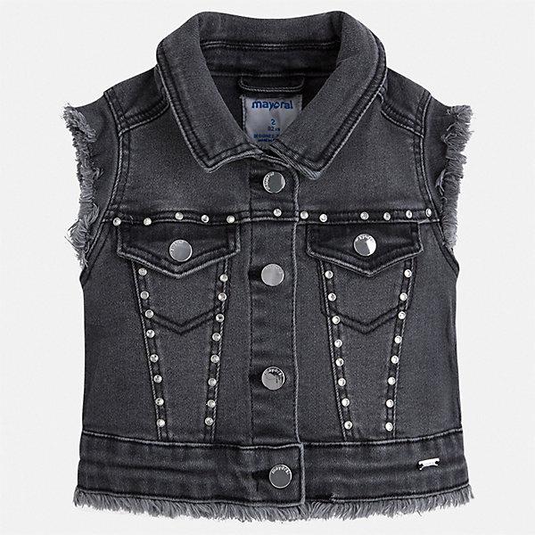 Джинсовый жилет Mayoral для девочкиДжинсовая одежда<br>Характеристики товара:<br><br>• цвет: серый<br>• состав ткани: 98% хлопок, 2% эластан<br>• сезон: круглый год<br>• застежка: пуговицы<br>• страна бренда: Испания<br>• стиль и качество Mayoral<br><br>Джинсовый теплый жилет для девочки от Майорал поможет сделать яркий акцент в наряде. Детский жилет отличается модным и продуманным дизайном. С помощью жилета для девочки от испанской компании Майорал можно создать оригинальный наряд. <br><br>Жилет Mayoral (Майорал) для девочки можно купить в нашем интернет-магазине.<br>Ширина мм: 190; Глубина мм: 74; Высота мм: 229; Вес г: 236; Цвет: черный; Возраст от месяцев: 96; Возраст до месяцев: 108; Пол: Женский; Возраст: Детский; Размер: 134,92,128,122,116,110,104,98; SKU: 7548975;