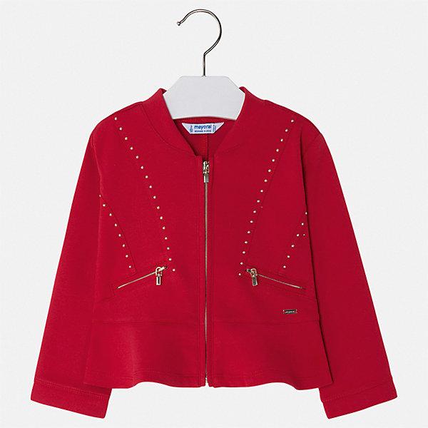 Пиджак Mayoral для девочкиВерхняя одежда<br>Характеристики товара:<br><br>• цвет: красный<br>• состав ткани: 66% хлопок, 30% полиэстер, 4% эластан<br>• сезон: демисезон<br>• длинные рукава<br>• застежка: молния<br>• страна бренда: Испания<br>• стиль и качество Mayoral<br><br>Оригинальный детский пиджак для девочки отлично подойдет для ношения в межсезонье. Хороший способ обеспечить ребенку аккуратный внешний вид и комфорт - надеть детский пиджак от Mayoral. Детский пиджак сшит из приятного на ощупь материала. <br><br>Пиджак Mayoral (Майорал) для девочки можно купить в нашем интернет-магазине.<br>Ширина мм: 190; Глубина мм: 74; Высота мм: 229; Вес г: 236; Цвет: красный; Возраст от месяцев: 18; Возраст до месяцев: 24; Пол: Женский; Возраст: Детский; Размер: 92,134,128,122,116,110,104,98; SKU: 7548993;