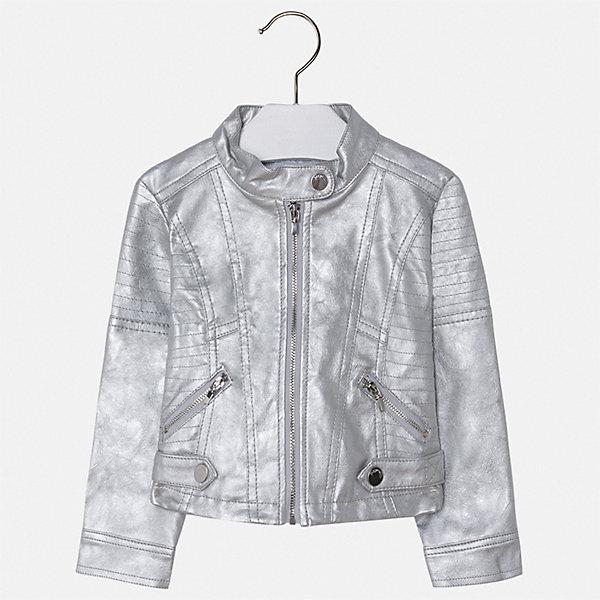 Куртка Mayoral для девочкиВетровки и жакеты<br>Характеристики товара:<br><br>• цвет: серый<br>• состав ткани: 100% полиуретан<br>• подкладка: 100% полиэстер<br>• утеплитель: нет<br>• сезон: демисезон<br>• особенности куртки: без капюшона<br>• застежка: молния<br>• страна бренда: Испания<br>• стиль и качество Mayoral<br><br>Эффектная детская куртка подойдет для переменной погоды. Отличный способ обеспечить ребенку тепло и комфорт - надеть такую куртку от Mayoral. Детская куртка сшита из приятного на ощупь материала. Куртка для девочки Mayoral украшена стильным декором.<br><br>Куртку Mayoral (Майорал) для девочки можно купить в нашем интернет-магазине.<br>Ширина мм: 356; Глубина мм: 10; Высота мм: 245; Вес г: 519; Цвет: серебряный; Возраст от месяцев: 18; Возраст до месяцев: 24; Пол: Женский; Возраст: Детский; Размер: 92,134,128,122,116,110,104,98; SKU: 7549065;