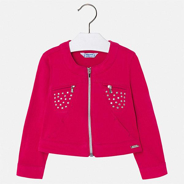 Куртка Mayoral для девочкиВерхняя одежда<br>Характеристики товара:<br><br>• цвет: фуксия<br>• состав ткани: 95% хлопок, 5% эластан<br>• утеплитель: нет<br>• сезон: демисезон<br>• особенности куртки: без капюшона<br>• застежка: молния<br>• стразы<br>• страна бренда: Испания<br>• стиль и качество Mayoral<br><br>Яркая легкая куртка для девочки отличается стильным продуманным кроем от европейских дизайнеров. Детская куртка была разработана специально для девочек, модель дополнена удобной застежкой. Детская куртка сделана из качественного материала и фурнитуры. <br><br>Куртку Mayoral (Майорал) для девочки можно купить в нашем интернет-магазине.<br>Ширина мм: 356; Глубина мм: 10; Высота мм: 245; Вес г: 519; Цвет: розовый; Возраст от месяцев: 18; Возраст до месяцев: 24; Пол: Женский; Возраст: Детский; Размер: 122,116,110,104,98,92,134,128; SKU: 7549074;