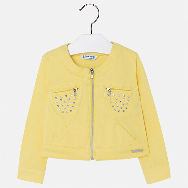 Куртка Mayoral для девочкиВерхняя одежда<br>Характеристики товара:<br><br>• цвет: желтый<br>• состав ткани: 95% хлопок, 5% эластан<br>• утеплитель: нет<br>• сезон: демисезон<br>• особенности куртки: без капюшона<br>• застежка: молния<br>• стразы<br>• страна бренда: Испания<br>• стиль и качество Mayoral<br><br>Оригинальная легкая куртка для девочки от Майорал поможет обеспечить ребенку комфорт и тепло. Детская куртка отличается модным и продуманным дизайном. В куртке для девочки от испанской компании Майорал ребенок будет выглядеть модно, а чувствовать себя - комфортно. <br><br>Куртку Mayoral (Майорал) для девочки можно купить в нашем интернет-магазине.<br>Ширина мм: 356; Глубина мм: 10; Высота мм: 245; Вес г: 519; Цвет: желтый; Возраст от месяцев: 72; Возраст до месяцев: 84; Пол: Женский; Возраст: Детский; Размер: 122,110,104,98,92,116,134,128; SKU: 7549083;