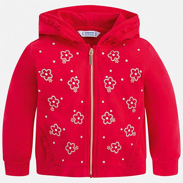 Куртка Mayoral для девочкиТолстовки<br>Характеристики товара:<br><br>• цвет: мульти<br>• состав ткани: 96% хлопок, 4% эластан<br>• утеплитель: нет<br>• сезон: демисезон<br>• особенности куртки: с капюшоном<br>• застежка: молния<br>• стразы<br>• страна бренда: Испания<br>• стиль и качество Mayoral<br><br>Эта легкая куртка для девочки отличается стильным продуманным кроем от европейских дизайнеров. Детская куртка была разработана специально для девочек, модель дополнена удобной застежкой. Детская куртка сделана из качественного материала и фурнитуры. <br><br>Куртку Mayoral (Майорал) для девочки можно купить в нашем интернет-магазине.<br>Ширина мм: 356; Глубина мм: 10; Высота мм: 245; Вес г: 519; Цвет: красный; Возраст от месяцев: 18; Возраст до месяцев: 24; Пол: Женский; Возраст: Детский; Размер: 92,134,128,122,116,110,104,98; SKU: 7549128;
