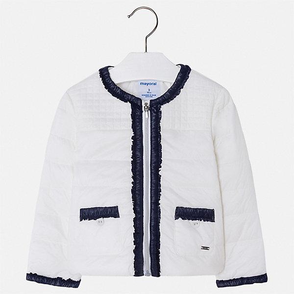 Куртка Mayoral для девочкиВерхняя одежда<br>Характеристики товара:<br><br>• цвет: белый<br>• состав ткани: 100% полиамид<br>• подкладка: 100% полиэстер<br>• утеплитель: 100% полиэстер<br>• сезон: демисезон<br>• температурный режим: от +10 до +20<br>• особенности куртки: без капюшона<br>• застежка: молния<br>• страна бренда: Испания<br>• стиль и качество Mayoral<br><br>Эффектная детская куртка отличается модным и продуманным дизайном. В куртке для девочки от испанской компании Майорал ребенок будет выглядеть модно, а чувствовать себя - комфортно. Эта легкая куртка для девочки от Майорал поможет обеспечить ребенку комфорт и тепло. <br><br>Куртку Mayoral (Майорал) для девочки можно купить в нашем интернет-магазине.<br>Ширина мм: 356; Глубина мм: 10; Высота мм: 245; Вес г: 519; Цвет: белый; Возраст от месяцев: 96; Возраст до месяцев: 108; Пол: Женский; Возраст: Детский; Размер: 134,128,122,116,110,104,98,92; SKU: 7549164;