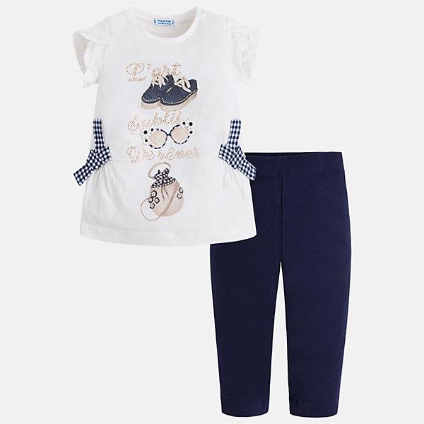 Комплект:бриджи,футболка Mayoral для девочкиКомплекты<br>Характеристики товара:<br><br>• цвет: белый, синий<br>• комплектация: леггинсы, футболка<br>• состав ткани: 95% хлопок, 5% эластан<br>• сезон: лето<br>• короткие рукава<br>• пояс: резинка<br>• страна бренда: Испания<br>• стиль и качество Mayoral<br><br>Симпатичный комплект - футболка с принтом и леггинсы для девочки от Майорал - отлично сочетается между собой, а также с другими вещами. В этом детском наборе - сразу две модные вещи. В футболке и леггинсах для девочки от испанской компании Майорал ребенок будет выглядеть стильно и оригинально.<br><br>Комплект: леггинсы, футболка Mayoral (Майорал) для девочки можно купить в нашем интернет-магазине.<br>Ширина мм: 191; Глубина мм: 10; Высота мм: 175; Вес г: 273; Цвет: синий; Возраст от месяцев: 18; Возраст до месяцев: 24; Пол: Женский; Возраст: Детский; Размер: 92,134,128,122,116,110,104,98; SKU: 7549370;