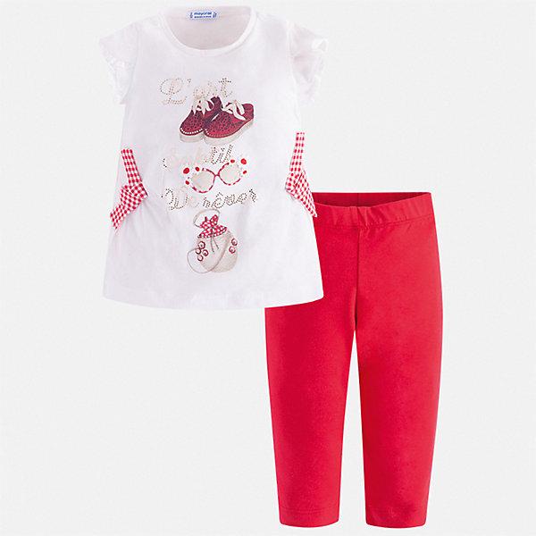 Комплект:бриджи,футболка Mayoral для девочкиКомплекты<br>Характеристики товара:<br><br>• цвет: белый, красный<br>• комплектация: леггинсы, футболка<br>• состав ткани: 95% хлопок, 5% эластан<br>• сезон: лето<br>• короткие рукава<br>• пояс: резинка<br>• страна бренда: Испания<br>• стиль и качество Mayoral<br><br>Трикотажная футболка и леггинсы для девочки от Майорал - отличный комплект для теплого времени года. В этом детском комплекте - сразу две качественные и модные вещи. В футболке и леггинсах для девочки от испанской компании Майорал ребенок будет чувствовать себя удобно благодаря высокому качеству материала и швов. <br><br>Комплект: леггинсы, футболка Mayoral (Майорал) для девочки можно купить в нашем интернет-магазине.<br>Ширина мм: 191; Глубина мм: 10; Высота мм: 175; Вес г: 273; Цвет: красный; Возраст от месяцев: 18; Возраст до месяцев: 24; Пол: Женский; Возраст: Детский; Размер: 92,134,128,122,116,110,104,98; SKU: 7549379;