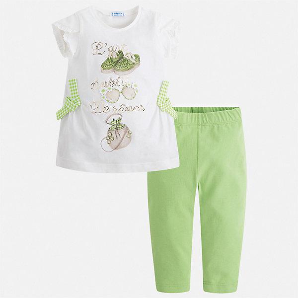 Комплект:бриджи,футболка Mayoral для девочкиКомплекты<br>Характеристики товара:<br><br>• цвет: белый, зеленый<br>• комплектация: леггинсы, футболка<br>• состав ткани: 95% хлопок, 5% эластан<br>• сезон: лето<br>• короткие рукава<br>• пояс: резинка<br>• страна бренда: Испания<br>• стиль и качество Mayoral<br><br>Легкие детские леггинсы и футболка сшиты из качественного материала с преобладанием хлопка в составе. Симпатичный комплект - детские леггинсы и футболка - подойдет для ношения в разных случаях. Этот комплект от Mayoral - отличный способ обеспечить ребенку комфорт в жаркую погоду. <br><br>Комплект: леггинсы, футболка Mayoral (Майорал) для девочки можно купить в нашем интернет-магазине.<br>Ширина мм: 191; Глубина мм: 10; Высота мм: 175; Вес г: 273; Цвет: зеленый; Возраст от месяцев: 24; Возраст до месяцев: 36; Пол: Женский; Возраст: Детский; Размер: 98,92,134,128,122,116,110,104; SKU: 7549388;