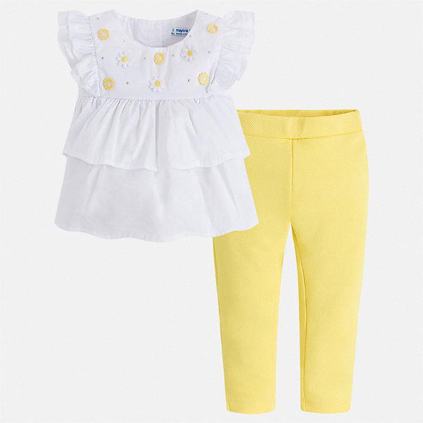 Комплект:брюки,блузка Mayoral для девочкиКомплекты<br>Характеристики товара:<br><br>• цвет: белый, желтый<br>• комплектация: леггинсы, блузка<br>• состав ткани блузки: 75% хлопок, 20% полиамид, 5% эластан<br>• состав ткани леггинсов: 96% хлопок, 4% эластан<br>• сезон: лето<br>• пояс: резинка<br>• застежка: пуговицы<br>• короткие рукава<br>• страна бренда: Испания<br>• стиль и качество Mayoral<br><br>Такие детские леггинсы и блузка сшиты из качественного материала с преобладанием хлопка в составе. Симпатичный комплект - детские леггинсы и блузка - подойдет для ношения в разных случаях. Этот комплект от Mayoral - отличный способ обеспечить ребенку комфорт в жаркую погоду. <br><br>Комплект: блузка, леггинсы Mayoral (Майорал) для девочки можно купить в нашем интернет-магазине.<br>Ширина мм: 215; Глубина мм: 88; Высота мм: 191; Вес г: 336; Цвет: желтый; Возраст от месяцев: 96; Возраст до месяцев: 108; Пол: Женский; Возраст: Детский; Размер: 134,98,104,110,116,122,128; SKU: 7549397;