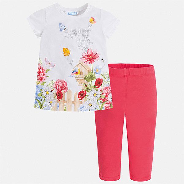 Комплект:леггинсы,блузка Mayoral для девочкиКомплекты<br>Характеристики товара:<br><br>• цвет: белый, красный<br>• комплектация: леггинсы, футболка<br>• состав ткани: 95% хлопок, 5% эластан<br>• сезон: лето<br>• короткие рукава<br>• пояс: резинка<br>• стразы<br>• страна бренда: Испания<br>• стиль и качество Mayoral<br><br>Яркий комплект - футболка с принтом и леггинсы для девочки от Майорал - отлично сочетается между собой, а также с другими вещами. В этом детском наборе - сразу две модные вещи. В футболке и леггинсах для девочки от испанской компании Майорал ребенок будет выглядеть стильно и оригинально.<br><br>Комплект: леггинсы, футболка Mayoral (Майорал) для девочки можно купить в нашем интернет-магазине.<br>Ширина мм: 123; Глубина мм: 10; Высота мм: 149; Вес г: 209; Цвет: лиловый; Возраст от месяцев: 18; Возраст до месяцев: 24; Пол: Женский; Возраст: Детский; Размер: 92,134,128,122,116,110,104,98; SKU: 7549470;