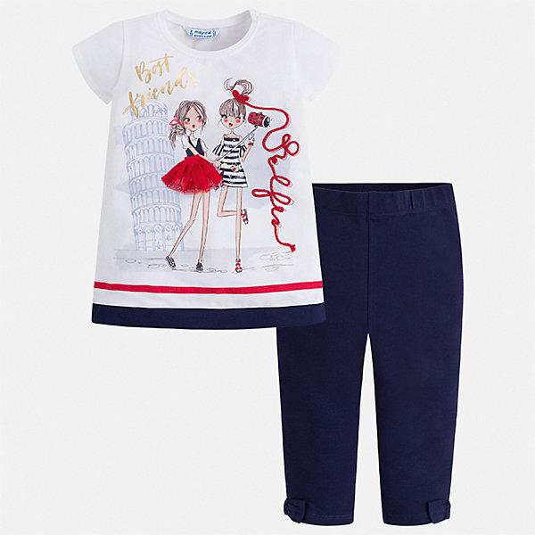 Комплект:леггинсы,блузка Mayoral для девочкиКомплекты<br>Характеристики товара:<br><br>• цвет: белый, синий<br>• комплектация: леггинсы, футболка<br>• состав ткани: 92% хлопок, 8% эластан<br>• сезон: лето<br>• короткие рукава<br>• пояс: резинка<br>• страна бренда: Испания<br>• стиль и качество Mayoral<br><br>Эти детские леггинсы и футболка сшиты из качественного материала с преобладанием хлопка в составе. Симпатичный комплект - детские леггинсы и футболка - подойдет для ношения в разных случаях. Этот комплект от Mayoral - отличный способ обеспечить ребенку комфорт в жаркую погоду. <br><br>Комплект: леггинсы, футболка Mayoral (Майорал) для девочки можно купить в нашем интернет-магазине.<br>Ширина мм: 123; Глубина мм: 10; Высота мм: 149; Вес г: 209; Цвет: синий; Возраст от месяцев: 18; Возраст до месяцев: 24; Пол: Женский; Возраст: Детский; Размер: 92,134,128,122,116,110,104,98; SKU: 7549515;