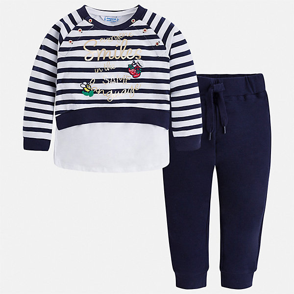 Комплект Mayoral для девочкиКомплекты<br>Характеристики товара:<br><br>• цвет: синий<br>• комплектация: толстовка, брюки, майка<br>• состав ткани: 58% хлопок, 39% полиэстер, 3% эластан<br>• сезон: круглый год<br>• особенности модели: спортивный стиль<br>• пояс: резинка, шнурок<br>• длинные рукава<br>• страна бренда: Испания<br>• стиль и качество Mayoral<br><br>Стильный спортивный костюм - толстовка, майка и брюки для девочки от Майорал - отлично сочетается между собой, а также с другими вещами. В этом детском спортивном костюме - сразу три удобные вещи. В спортивном костюме для девочки от испанской компании Майорал ребенок будет выглядеть модно, а чувствовать себя - удобно. <br><br>Спортивный костюм Mayoral (Майорал) для девочки можно купить в нашем интернет-магазине.<br>Ширина мм: 247; Глубина мм: 16; Высота мм: 140; Вес г: 225; Цвет: синий; Возраст от месяцев: 96; Возраст до месяцев: 108; Пол: Женский; Возраст: Детский; Размер: 134,128,122,116,110,104,98,92; SKU: 7549822;