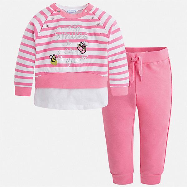 Спортивный костюм Mayoral для девочкиКомплекты<br>Характеристики товара:<br><br>• цвет: розовый<br>• комплектация: толстовка, брюки, майка<br>• состав ткани: 58% хлопок, 39% полиэстер, 3% эластан<br>• сезон: круглый год<br>• особенности модели: спортивный стиль<br>• пояс: резинка, шнурок<br>• длинные рукава<br>• страна бренда: Испания<br>• стиль и качество Mayoral<br><br>Яркие толстовка, майка и брюки для ребенка от Майорал - отличный комплект для занятия спортом. В этом детском спортивном костюме - сразу три качественные и модные вещи. В спортивном костюме для ребенка от испанской компании Майорал ребенок будет чувствовать себя удобно благодаря высокому качеству материала и швов. <br><br>Спортивный костюм Mayoral (Майорал) для девочки можно купить в нашем интернет-магазине.<br>Ширина мм: 247; Глубина мм: 16; Высота мм: 140; Вес г: 225; Цвет: розовый; Возраст от месяцев: 18; Возраст до месяцев: 24; Пол: Женский; Возраст: Детский; Размер: 92,134,128,122,116,110,104,98; SKU: 7549831;