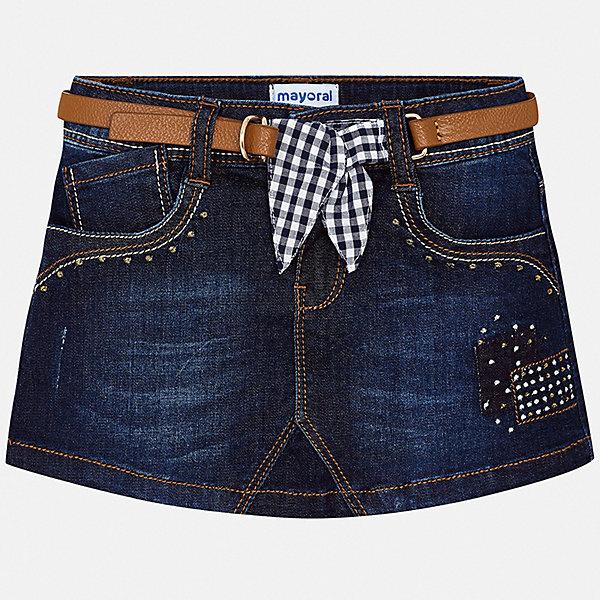 Джинсовая юбка Mayoral для девочкиЮбки<br>Характеристики товара:<br><br>• цвет: синий<br>• комплектация: юбка, ремень<br>• состав ткани верха: 98% хлопок, 2% эластан<br>• сезон: круглый год<br>• застежка: молния<br>• шлевки<br>• страна бренда: Испания<br>• стиль и качество Mayoral<br><br>Джинсовая детская юбка от известного бренда Майорал отлично подходит для любого времени года. Эта детская юбка дополнена ремнем. Юбка для девочки сделана из качественного материала, швы тщательно обработаны. <br><br>Юбку для девочки Mayoral (Майорал) можно купить в нашем интернет-магазине.<br>Ширина мм: 207; Глубина мм: 10; Высота мм: 189; Вес г: 183; Цвет: синий; Возраст от месяцев: 18; Возраст до месяцев: 24; Пол: Женский; Возраст: Детский; Размер: 92,134,128,122,116,110,104,98; SKU: 7549921;