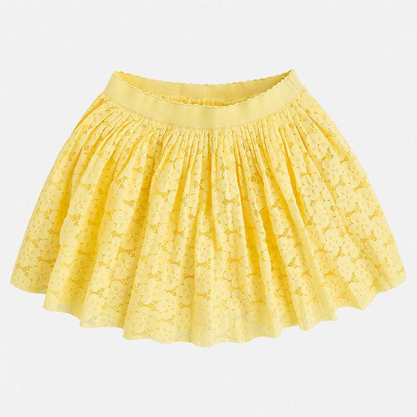 Юбка Mayoral для девочкиЮбки<br>Характеристики товара:<br><br>• цвет: желтый<br>• состав ткани верха: 61% хлопок, 39% полиамид<br>• подкладка: 100% вискоза<br>• сезон: круглый год<br>• особенности модели: нарядная<br>• талия: резинка<br>• страна бренда: Испания<br>• стиль и качество Mayoral<br><br>Ажурная детская юбка от известного бренда Майорал отлично подходит для любого времени года. Эта детская юбка дополнена легкой подкладкой. Юбка для девочки сделана из качественного материала, швы тщательно обработаны. <br><br>Юбку для девочки Mayoral (Майорал) можно купить в нашем интернет-магазине.<br>Ширина мм: 207; Глубина мм: 10; Высота мм: 189; Вес г: 183; Цвет: желтый; Возраст от месяцев: 24; Возраст до месяцев: 36; Пол: Женский; Возраст: Детский; Размер: 110,98,134,128,122,116,104; SKU: 7549967;
