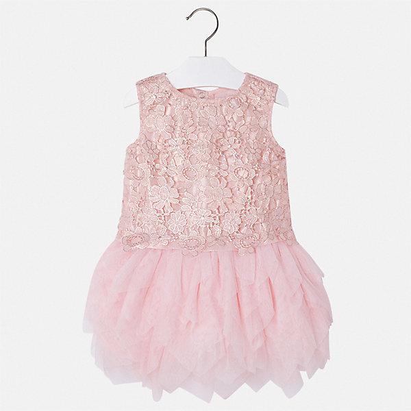 Платье Mayoral для девочкиПлатья и сарафаны<br>Характеристики товара:<br><br>• цвет: розовый<br>• состав ткани верха: 100% полиэстер<br>• подкладка: 85% полиэстер, 15% хлопок<br>• сезон: круглый год<br>• особенности модели: нарядная<br>• застежка: молния<br>• без рукавов<br>• страна бренда: Испания<br>• стиль и качество Mayoral<br><br>Розовое платье для девочки от Майорал поможет обеспечить ребенку удобство. Детское платье отличается качественными фурнитурой и материалом. Платье для девочки от испанской компании Майорал создали опытные европейские дизайнеры специально для детей.<br><br>Платье для девочки Mayoral (Майорал) можно купить в нашем интернет-магазине.<br>Ширина мм: 236; Глубина мм: 16; Высота мм: 184; Вес г: 177; Цвет: красный; Возраст от месяцев: 18; Возраст до месяцев: 24; Пол: Женский; Возраст: Детский; Размер: 92,134,128,122,116,110,104,98; SKU: 7550024;