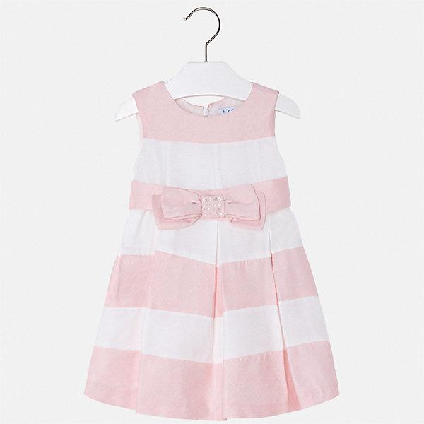 Платье Mayoral для девочкиЛетние платья и сарафаны<br>Характеристики товара:<br><br>• цвет: розовый<br>• состав ткани верха: 79% вискоза 21% полиэстер<br>• подкладка: 50% полиэстер, 50% хлопок<br>• сезон: круглый год<br>• особенности модели: нарядная<br>• застежка: молния<br>• без рукавов<br>• страна бренда: Испания<br>• стиль и качество Mayoral<br><br>Полосатое детское платье сделано из дышащего приятного на ощупь материала. Благодаря качественной ткани детского платья для девочки создаются комфортные условия для тела. Платье для девочки отличается стильным продуманным дизайном.<br><br>Платье для девочки Mayoral (Майорал) можно купить в нашем интернет-магазине.<br>Ширина мм: 236; Глубина мм: 16; Высота мм: 184; Вес г: 177; Цвет: красный; Возраст от месяцев: 18; Возраст до месяцев: 24; Пол: Женский; Возраст: Детский; Размер: 92,134,128,122,116,110,104,98; SKU: 7550033;