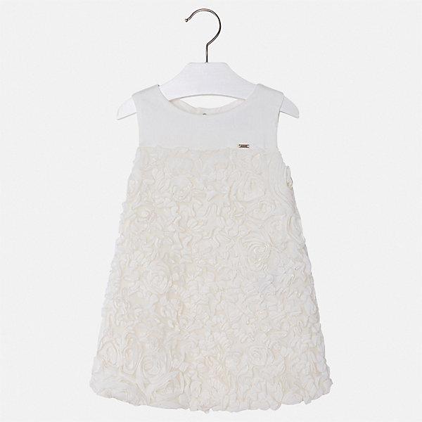 Платье Mayoral для девочкиОдежда<br>Характеристики товара:<br><br>• цвет: белый<br>• состав ткани верха: 100% полиэстер<br>• подкладка: 50% полиэстер, 50% хлопок<br>• сезон: круглый год<br>• особенности модели: нарядная<br>• застежка: молния<br>• без рукавов<br>• страна бренда: Испания<br>• стиль и качество Mayoral<br><br>Оригинальное детское платье сделано из дышащего приятного на ощупь материала. Благодаря качественной ткани детского платья для девочки создаются комфортные условия для тела. Платье для девочки отличается стильным продуманным дизайном.<br><br>Платье для девочки Mayoral (Майорал) можно купить в нашем интернет-магазине.<br>Ширина мм: 236; Глубина мм: 16; Высота мм: 184; Вес г: 177; Цвет: бежевый; Возраст от месяцев: 18; Возраст до месяцев: 24; Пол: Женский; Возраст: Детский; Размер: 92,134,128,122,116,110,104,98; SKU: 7550060;