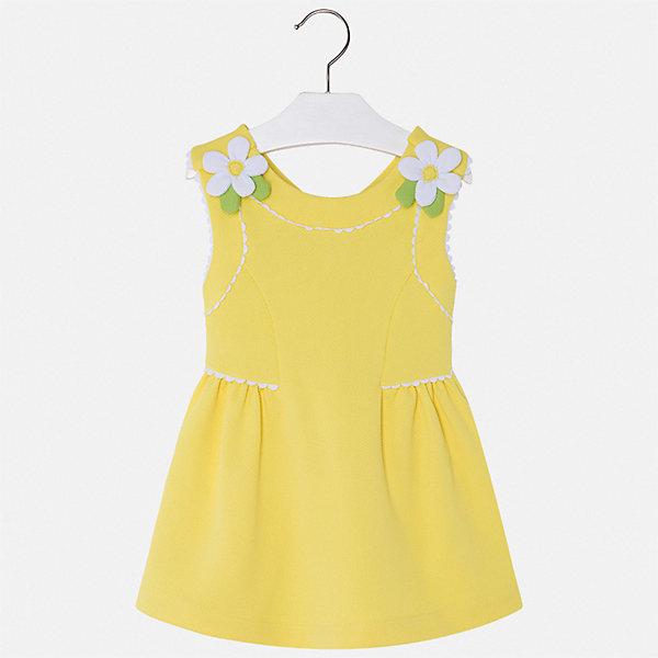 Платье Mayoral для девочкиПлатья и сарафаны<br>Характеристики товара:<br><br>• цвет: желтый<br>• состав ткани верха: 96% полиэстер, 4% эластан<br>• сезон: лето<br>• застежка: молния<br>• без рукавов<br>• страна бренда: Испания<br>• стиль и качество Mayoral<br><br>Оригинальное платье для девочки отличается стильным продуманным дизайном. Это детское платье сделано из качественного приятного на ощупь материала. Благодаря легкой ткани детского платья для девочки создаются комфортные условия для тела. <br><br>Платье для девочки Mayoral (Майорал) можно купить в нашем интернет-магазине.<br>Ширина мм: 236; Глубина мм: 16; Высота мм: 184; Вес г: 177; Цвет: желтый; Возраст от месяцев: 24; Возраст до месяцев: 36; Пол: Женский; Возраст: Детский; Размер: 98,134,128,122,116,110,104; SKU: 7550114;