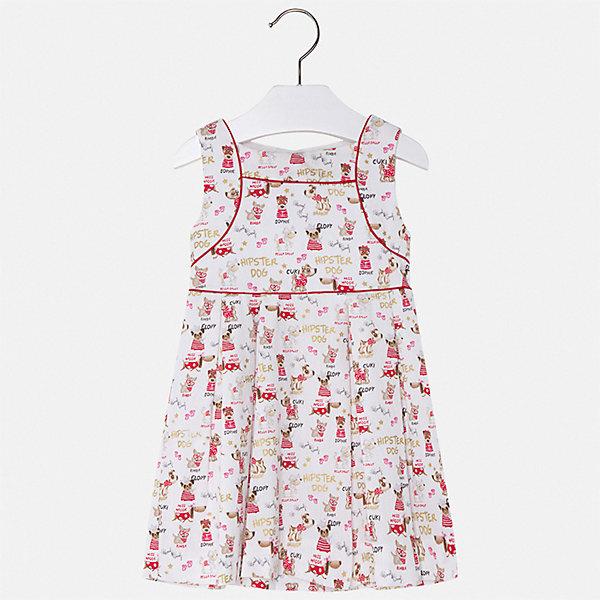 Платье Mayoral для девочкиЛетние платья и сарафаны<br>Характеристики товара:<br><br>• цвет: белый<br>• состав ткани верха: 100% хлопок<br>• подкладка: 50% полиэстер, 50% хлопок<br>• сезон: лето<br>• застежка: молния<br>• без рукавов<br>• страна бренда: Испания<br>• стиль и качество Mayoral<br><br>Принтованное детское платье сделано из качественного приятного на ощупь материала. Такое платье для девочки отличается стильным продуманным дизайном. Благодаря легкой ткани детского платья для девочки создаются комфортные условия для тела. <br><br>Платье для девочки Mayoral (Майорал) можно купить в нашем интернет-магазине.<br>Ширина мм: 236; Глубина мм: 16; Высота мм: 184; Вес г: 177; Цвет: красный; Возраст от месяцев: 60; Возраст до месяцев: 72; Пол: Женский; Возраст: Детский; Размер: 116,92,98,104,110; SKU: 7550322;