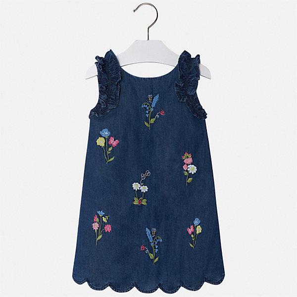 Купить Платье Mayoral для девочки, Индия, голубой, 128, 134, 122, 116, 110, 104, 98, 92, Женский