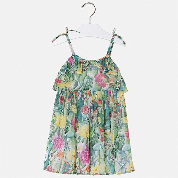 Платье Mayoral для девочкиПлатья и сарафаны<br>Характеристики товара:<br><br>• цвет: зеленый<br>• состав ткани верха: 100% полиэстер<br>• подкладка: 100% вискоза<br>• сезон: лето<br>• без рукавов<br>• страна бренда: Испания<br>• стиль и качество Mayoral<br><br>Шифоновое детское платье отличается качественными фурнитурой и материалом. Это платье для девочки от испанской компании Майорал опытные европейские дизайнеры создали специально для детей. Платье для девочки от Майорал поможет обеспечить ребенку удобство. <br><br>Платье для девочки Mayoral (Майорал) можно купить в нашем интернет-магазине.<br>Ширина мм: 236; Глубина мм: 16; Высота мм: 184; Вес г: 177; Цвет: зеленый; Возраст от месяцев: 60; Возраст до месяцев: 72; Пол: Женский; Возраст: Детский; Размер: 116,104,98,110,134,128,122; SKU: 7550500;