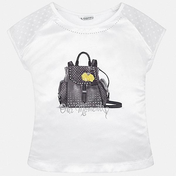 Футболка Mayoral для девочкиФутболки, поло и топы<br>Характеристики товара:<br><br>• цвет: белый<br>• состав ткани: 48% хлопок, 47% полиэстер, 5% эластан<br>• сезон: лето<br>• короткие рукава<br>• стразы<br>• страна бренда: Испания<br>• стиль и качество Mayoral<br><br>Стильная детская футболка сделана из качественной ткани, которая обеспечивает ребенку комфорт. Такая детская футболка поможет создать модный и удобный наряд для ребенка. Эта футболка для девочки от Mayoral - универсальная и комфортная базовая вещь для детского гардероба. <br><br>Футболку Mayoral (Майорал) для девочки можно купить в нашем интернет-магазине.<br>Ширина мм: 199; Глубина мм: 10; Высота мм: 161; Вес г: 151; Цвет: белый; Возраст от месяцев: 96; Возраст до месяцев: 108; Пол: Женский; Возраст: Детский; Размер: 164,158,152,140,128/134,170; SKU: 7550594;
