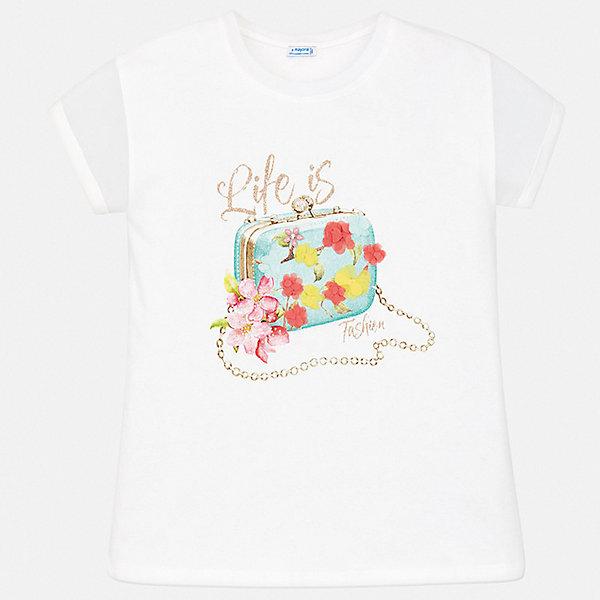 Футболка Mayoral для девочкиФутболки, поло и топы<br>Характеристики товара:<br><br>• цвет: белый<br>• состав ткани: 95% хлопок, 5% эластан<br>• сезон: лето<br>• короткие рукава<br>• стразы<br>• страна бренда: Испания<br>• стиль и качество Mayoral<br><br>Комфортная детская футболка - отличная основа для составления различных нарядов. Эта хлопковая футболка для девочки от Майорал поможет обеспечить ребенку комфорт. В футболке для девочки от испанской компании Майорал ребенок будет чувствовать себя удобно благодаря качественным швам и приятному на ощупь материалу. <br><br>Футболку Mayoral (Майорал) для девочки можно купить в нашем интернет-магазине.<br>Ширина мм: 199; Глубина мм: 10; Высота мм: 161; Вес г: 151; Цвет: голубой; Возраст от месяцев: 144; Возраст до месяцев: 156; Пол: Женский; Возраст: Детский; Размер: 158,152,128/134,140,164; SKU: 7550601;