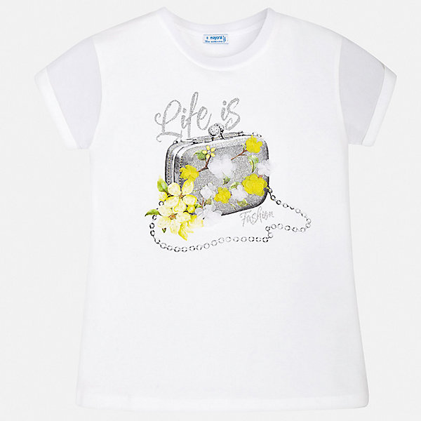 Футболка Mayoral для девочкиФутболки, поло и топы<br>Характеристики товара:<br><br>• цвет: белый<br>• состав ткани: 95% хлопок, 5% эластан<br>• сезон: лето<br>• короткие рукава<br>• стразы<br>• страна бренда: Испания<br>• стиль и качество Mayoral<br><br>Такая детская футболка с коротким рукавом украшена эффектным принтом от ведущих дизайнеров испанского бренда Mayoral. Эта футболка для девочки отличается модным дизайном. Края детской футболки обработаны мягкими швами. <br><br>Футболку Mayoral (Майорал) для девочки можно купить в нашем интернет-магазине.<br>Ширина мм: 199; Глубина мм: 10; Высота мм: 161; Вес г: 151; Цвет: черный; Возраст от месяцев: 96; Возраст до месяцев: 108; Пол: Женский; Возраст: Детский; Размер: 164,128/134,158,152,140; SKU: 7550607;