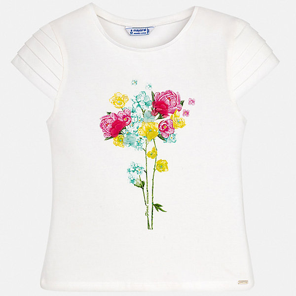 Футболка Mayoral для девочкиФутболки, поло и топы<br>Характеристики товара:<br><br>• цвет: белый<br>• состав ткани: 95% хлопок, 5% эластан<br>• сезон: лето<br>• короткие рукава<br>• стразы<br>• страна бренда: Испания<br>• стиль и качество Mayoral<br><br>Принтованная детская футболка - отличная основа для составления различных нарядов. Эта хлопковая футболка для девочки от Майорал поможет обеспечить ребенку комфорт. В футболке для девочки от испанской компании Майорал ребенок будет чувствовать себя удобно благодаря качественным швам и приятному на ощупь материалу. <br><br>Футболку Mayoral (Майорал) для девочки можно купить в нашем интернет-магазине.<br>Ширина мм: 199; Глубина мм: 10; Высота мм: 161; Вес г: 151; Цвет: голубой; Возраст от месяцев: 168; Возраст до месяцев: 180; Пол: Женский; Возраст: Детский; Размер: 170,128/134,140,152,158,164; SKU: 7550620;