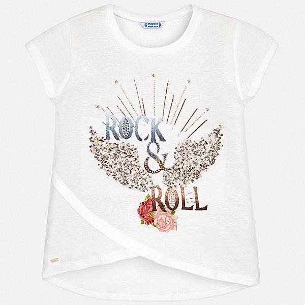 Футболка Mayoral для девочкиФутболки, поло и топы<br>Характеристики товара:<br><br>• цвет: белый<br>• состав ткани: 50% хлопок, 50% модал<br>• сезон: лето<br>• короткие рукава<br>• стразы<br>• страна бренда: Испания<br>• стиль и качество Mayoral<br><br>Модная футболка для девочки от Mayoral - универсальная и комфортная базовая вещь для детского гардероба. Эта детская футболка сделана из качественной ткани, которая обеспечивает ребенку комфорт. Такая детская футболка поможет создать модный и удобный наряд для ребенка. <br><br>Футболку Mayoral (Майорал) для девочки можно купить в нашем интернет-магазине.<br>Ширина мм: 199; Глубина мм: 10; Высота мм: 161; Вес г: 151; Цвет: бежевый; Возраст от месяцев: 108; Возраст до месяцев: 120; Пол: Женский; Возраст: Детский; Размер: 140,170,128/134,152,158,164; SKU: 7550655;