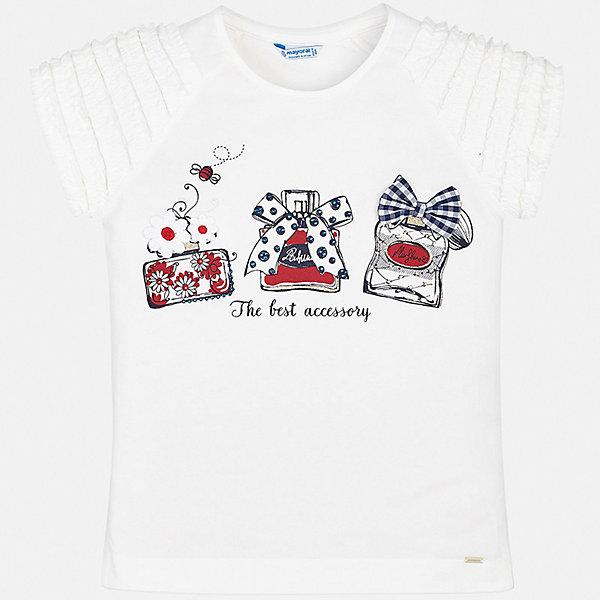 Футболка Mayoral для девочкиФутболки, поло и топы<br>Характеристики товара:<br><br>• цвет: белый<br>• состав ткани: 95% хлопок, 5% эластан<br>• сезон: лето<br>• короткие рукава<br>• стразы<br>• страна бренда: Испания<br>• стиль и качество Mayoral<br><br>Стильная хлопковая футболка для девочки от Майорал поможет обеспечить ребенку комфорт. В футболке для девочки от испанской компании Майорал ребенок будет чувствовать себя удобно благодаря качественным швам и приятному на ощупь материалу. Удобная детская футболка - отличная основа для составления различных нарядов. <br><br>Футболку Mayoral (Майорал) для девочки можно купить в нашем интернет-магазине.<br>Ширина мм: 199; Глубина мм: 10; Высота мм: 161; Вес г: 151; Цвет: красный; Возраст от месяцев: 96; Возраст до месяцев: 108; Пол: Женский; Возраст: Детский; Размер: 128/134,170,164,158,152,140; SKU: 7551131;