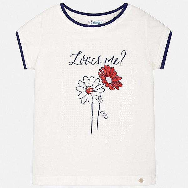 Футболка Mayoral для девочкиФутболки, поло и топы<br>Характеристики товара:<br><br>• цвет: белый<br>• состав ткани: 95% хлопок, 5% эластан<br>• сезон: лето<br>• короткие рукава<br>• страна бренда: Испания<br>• стиль и качество Mayoral<br><br>Белая футболка для девочки от Mayoral - универсальная и комфортная базовая вещь для детского гардероба. Эта детская футболка сделана из качественной ткани, которая обеспечивает ребенку комфорт. Такая детская футболка поможет создать модный и удобный наряд для ребенка. <br><br>Футболку Mayoral (Майорал) для девочки можно купить в нашем интернет-магазине.<br>Ширина мм: 199; Глубина мм: 10; Высота мм: 161; Вес г: 151; Цвет: красный; Возраст от месяцев: 156; Возраст до месяцев: 168; Пол: Женский; Возраст: Детский; Размер: 164,158,152,140,128/134,170; SKU: 7551187;