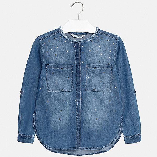 Купить Рубашка Mayoral для девочки, Индия, синий, 128/134, 170, 164, 158, 152, 140, Женский