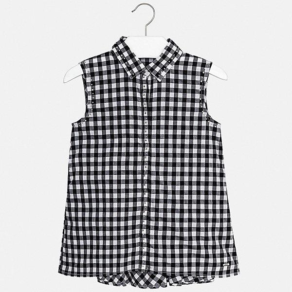 Блуза Mayoral для девочкиБлузки и рубашки<br>Характеристики товара:<br><br>• цвет: черный<br>• состав ткани: 100% хлопок<br>• сезон: лето<br>• застежка: пуговицы<br>• без рукавов<br>• стразы<br>• страна бренда: Испания<br>• стиль и качество Mayoral<br><br>Клетчатая детская блуза сшита из качественного материала, поэтому она легкая и комфортная. Детская блуза поможет создать модный и удобный наряд для ребенка. Эта блуза для девочки от Mayoral - универсальная и комфортная базовая вещь для детского гардероба. <br><br>Блузу Mayoral (Майорал) для девочки можно купить в нашем интернет-магазине.<br>Ширина мм: 186; Глубина мм: 87; Высота мм: 198; Вес г: 197; Цвет: черный; Возраст от месяцев: 168; Возраст до месяцев: 180; Пол: Женский; Возраст: Детский; Размер: 170,128/134,140,152,158,164; SKU: 7551284;