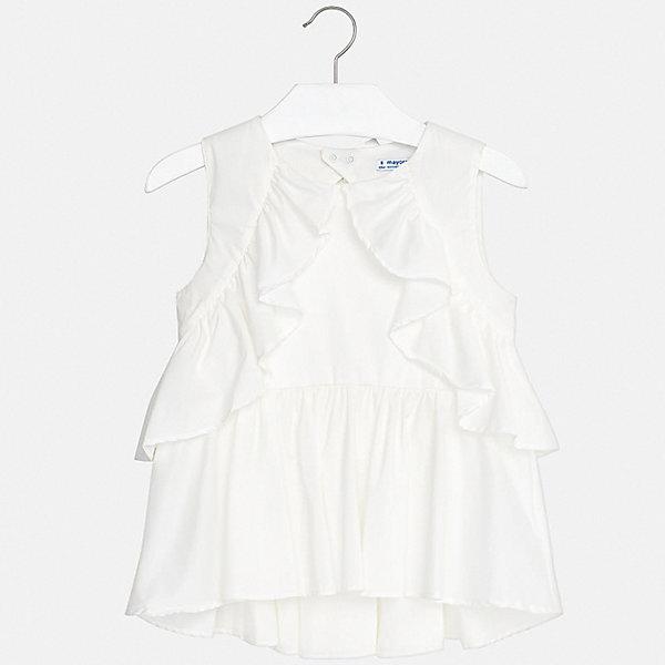 Блуза Mayoral для девочкиБлузки и рубашки<br>Характеристики товара:<br><br>• цвет: белый<br>• состав ткани: 70% хлопок, 27% полиамид, 3% эластан<br>• подкладка: 70% хлопок, 27% полиамид, 3% эластан<br>• сезон: лето<br>• застежка: кнопки<br>• без рукавов<br>• страна бренда: Испания<br>• стиль и качество Mayoral<br><br>Белая детская блуза отличается модным дизайном от ведущих специалистов испанского бренда Mayoral. Эта блуза для девочки смотрится стильно, хорошо сочетается с юбками и брюками. Детская блуза украшена оригинальным декором. <br><br>Блузу Mayoral (Майорал) для девочки можно купить в нашем интернет-магазине.<br>Ширина мм: 186; Глубина мм: 87; Высота мм: 198; Вес г: 197; Цвет: бежевый; Возраст от месяцев: 96; Возраст до месяцев: 108; Пол: Женский; Возраст: Детский; Размер: 128/134,170,164,158,152,140; SKU: 7551298;