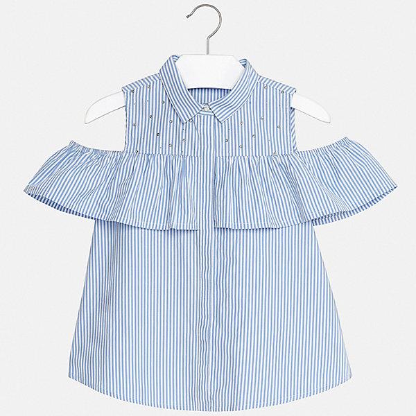 Блуза Mayoral для девочкиБлузки и рубашки<br>Характеристики товара:<br><br>• цвет: голубой<br>• состав ткани: 62% хлопок, 35% полиамид, 3% эластан<br>• сезон: лето<br>• застежка: пуговицы<br>• короткие рукава<br>• стразы<br>• страна бренда: Испания<br>• стиль и качество Mayoral<br><br>Полосатая детская блуза - стильная и удобная вещь. Эта блуза для девочки от Майорал поможет обеспечить ребенку комфорт. В блузе для девочки от испанской компании Майорал ребенок будет чувствовать себя удобно благодаря тщательно обработанным швам и качественному материалу. <br><br>Блузу Mayoral (Майорал) для девочки можно купить в нашем интернет-магазине.<br>Ширина мм: 186; Глубина мм: 87; Высота мм: 198; Вес г: 197; Цвет: бежевый; Возраст от месяцев: 96; Возраст до месяцев: 108; Пол: Женский; Возраст: Детский; Размер: 164,128/134,170,158,152,140; SKU: 7551333;