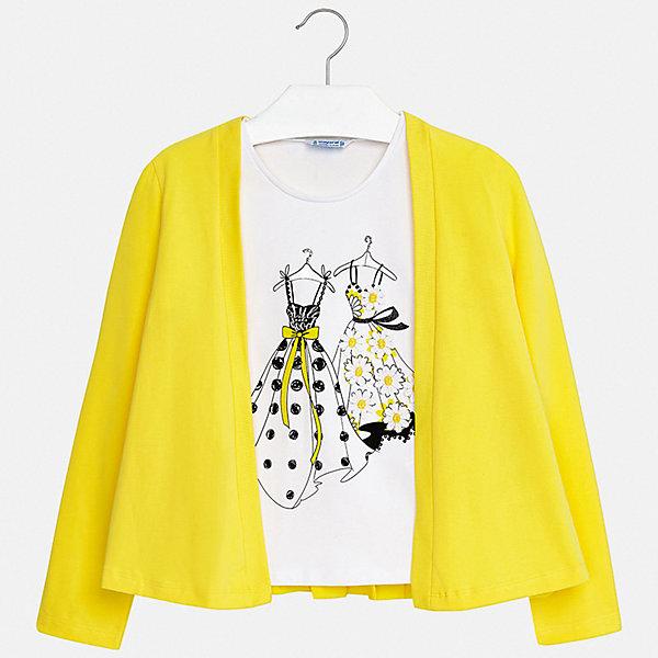 Комплект:блузка,кардиган Mayoral для девочкиКомплекты<br>Характеристики товара:<br><br>• цвет: желтый<br>• комплектация: блузка, кардиган <br>• состав ткани блузки: 92% хлопок, 8% эластан<br>• состав ткани кардигана: 100% полиэстер<br>• сезон: демисезон<br>• страна бренда: Испания<br>• стиль и качество Mayoral<br><br>Оригинальный комплект для девочки отличается стильным продуманным дизайном. Детская блузка сделана из дышащего приятного на ощупь материала с преобладанием натурального хлопка в составе. Кардиган и блузка для ребенка - готовый оригинальный наряд. <br><br>Комплект: блузка, кардиган Mayoral (Майорал) для девочки можно купить в нашем интернет-магазине.<br>Ширина мм: 190; Глубина мм: 74; Высота мм: 229; Вес г: 236; Цвет: желтый; Возраст от месяцев: 96; Возраст до месяцев: 108; Пол: Женский; Возраст: Детский; Размер: 128/134,170,164,158,152,140; SKU: 7551347;