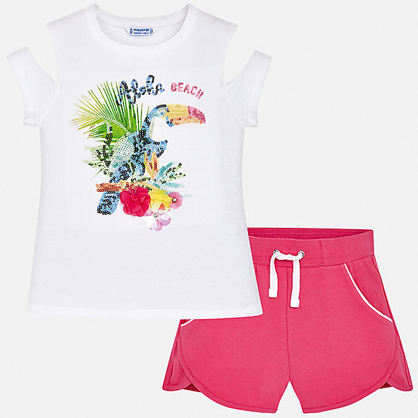 Комплект:шорты,футболка Mayoral для девочкиКомплекты<br>Характеристики товара:<br><br>• цвет: фуксия<br>• комплектация: шорты, футболка<br>• состав ткани: 95% хлопок, 5% эластан<br>• сезон: лето<br>• короткие рукава<br>• пайетки<br>• талия: резинка, шнурок<br>• страна бренда: Испания<br>• стиль и качество Mayoral<br><br>Трикотажные футболка и шорты для девочки от Майорал - отличный комплект для жаркого времени года. В этом детском комплекте - сразу две качественные и модные вещи. В футболке и шортах для девочки от испанской компании Майорал ребенок будет чувствовать себя удобно благодаря высокому качеству материала и швов. <br><br>Комплект: шорты, футболка Mayoral (Майорал) для девочки можно купить в нашем интернет-магазине.<br>Ширина мм: 191; Глубина мм: 10; Высота мм: 175; Вес г: 273; Цвет: розовый; Возраст от месяцев: 168; Возраст до месяцев: 180; Пол: Женский; Возраст: Детский; Размер: 170,164,128/134,140,152,158; SKU: 7551422;