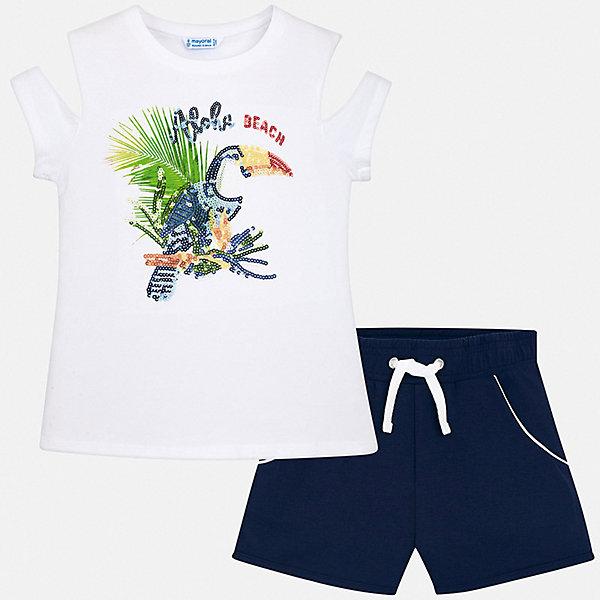 Комплект:шорты,футболка Mayoral для девочкиКомплекты<br>Характеристики товара:<br><br>• цвет: синий<br>• комплектация: шорты, футболка<br>• состав ткани: 95% хлопок, 5% эластан<br>• сезон: лето<br>• короткие рукава<br>• пайетки<br>• талия: резинка, шнурок<br>• страна бренда: Испания<br>• стиль и качество Mayoral<br><br>Модные футболка и шорты для девочки от Майорал помогут обеспечить ребенку комфорт в жаркое время года. В таком детском комплекте - сразу две стильные вещи. В футболке и шортах для девочки от испанской компании Майорал ребенок будет выглядеть модно, а чувствовать себя - удобно.<br><br>Комплект: шорты, футболка Mayoral (Майорал) для девочки можно купить в нашем интернет-магазине.<br>Ширина мм: 191; Глубина мм: 10; Высота мм: 175; Вес г: 273; Цвет: синий; Возраст от месяцев: 96; Возраст до месяцев: 108; Пол: Женский; Возраст: Детский; Размер: 128/134,170,164,158,152,140; SKU: 7551429;