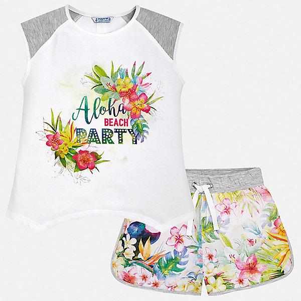 Купить Комплект:шорты, футболка Mayoral для девочки, Индия, серый, 152, 140, 128/134, 170, 164, 158, Женский