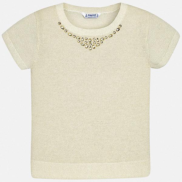 Свитер Mayoral для девочкиФутболки, поло и топы<br>Характеристики товара:<br><br>• цвет: бежевый<br>• состав ткани: 90% хлопок, 10% металлизированная нить<br>• сезон: круглый год<br>• короткие рукава<br>• стразы<br>• страна бренда: Испания<br>• стиль и качество Mayoral<br><br>Эта детская блуза сшита из качественного материала, поэтому она легкая и комфортная. Детская блуза поможет создать модный и удобный наряд для ребенка. Эта блуза для девочки от Mayoral - универсальная и комфортная базовая вещь для детского гардероба. <br><br>Блузу Mayoral (Майорал) для девочки можно купить в нашем интернет-магазине.<br>Ширина мм: 190; Глубина мм: 74; Высота мм: 229; Вес г: 236; Цвет: бежевый; Возраст от месяцев: 168; Возраст до месяцев: 180; Пол: Женский; Возраст: Детский; Размер: 170,128/134,140,152,158,164; SKU: 7551463;