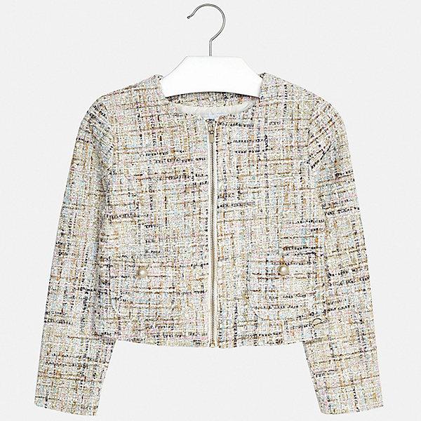 Пиджак Mayoral для девочкиВерхняя одежда<br>Характеристики товара:<br><br>• цвет: голубой<br>• состав ткани: 97% полиэстер, 3% металлизированная нить<br>• подкладка: 100% полиэстер<br>• сезон: демисезон<br>• длинные рукава<br>• застежка: молния<br>• страна бренда: Испания<br>• стиль и качество Mayoral<br><br>Такой детский пиджак для девочки отлично подойдет для ношения в межсезонье. Хороший способ обеспечить ребенку аккуратный внешний вид и комфорт - надеть детский пиджак от Mayoral. Детский пиджак сшит из приятного на ощупь материала. <br><br>Пиджак Mayoral (Майорал) для девочки можно купить в нашем интернет-магазине.<br>Ширина мм: 190; Глубина мм: 74; Высота мм: 229; Вес г: 236; Цвет: голубой; Возраст от месяцев: 96; Возраст до месяцев: 108; Пол: Женский; Возраст: Детский; Размер: 128/134,170,164,158,152,140; SKU: 7551547;