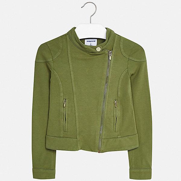 Пиджак Mayoral для девочкиВерхняя одежда<br>Характеристики товара:<br><br>• цвет: хаки<br>• состав ткани: 95% хлопок, 5% эластан<br>• сезон: демисезон<br>• длинные рукава<br>• застежка: молния<br>• страна бренда: Испания<br>• стиль и качество Mayoral<br><br>Стильный детский пиджак для девочки отлично подойдет для ношения в межсезонье. Хороший способ обеспечить ребенку аккуратный внешний вид и комфорт - надеть детский пиджак от Mayoral. Детский пиджак сшит из приятного на ощупь материала. <br><br>Пиджак Mayoral (Майорал) для девочки можно купить в нашем интернет-магазине.<br>Ширина мм: 190; Глубина мм: 74; Высота мм: 229; Вес г: 236; Цвет: хаки; Возраст от месяцев: 96; Возраст до месяцев: 108; Пол: Женский; Возраст: Детский; Размер: 128/134,170,164,158,152,140; SKU: 7551568;