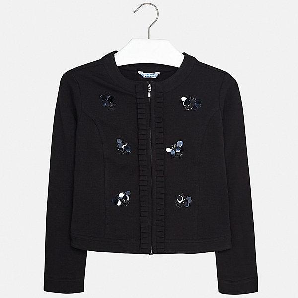Пиджак Mayoral для девочкиКостюмы и пиджаки<br>Характеристики товара:<br><br>• цвет: черный<br>• состав ткани: 95% хлопок, 5% эластан<br>• сезон: демисезон<br>• длинные рукава<br>• застежка: молния<br>• стразы<br>• страна бренда: Испания<br>• стиль и качество Mayoral<br><br>Эффектный детский пиджак сделан из приятного на ощупь материала и качественной фурнитуры. Пиджак для девочки Mayoral дополнен удобной застежкой. Пиджак для ребенка отличается стильным силуэтом. Детский пиджак обеспечит ребенку комфорт. <br><br>Пиджак Mayoral (Майорал) для девочки можно купить в нашем интернет-магазине.<br>Ширина мм: 190; Глубина мм: 74; Высота мм: 229; Вес г: 236; Цвет: черный; Возраст от месяцев: 96; Возраст до месяцев: 108; Пол: Женский; Возраст: Детский; Размер: 128/134,170,164,158,152,140; SKU: 7551575;