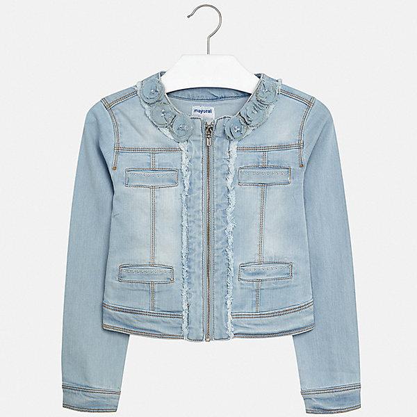 Куртка Mayoral для девочкиВетровки и жакеты<br>Характеристики товара:<br><br>• цвет: голубой<br>• состав ткани: 98% хлопок, 2% эластан<br>• утеплитель: нет<br>• сезон: демисезон<br>• особенности куртки: без капюшона<br>• застежка: молния<br>• стразы<br>• страна бренда: Испания<br>• стиль и качество Mayoral<br><br>Легкая детская куртка сделана из качественного материала и фурнитуры. Такая куртка для девочки отличается стильным продуманным кроем от европейских дизайнеров, детская куртка разработана с учетом последних тенденций в моде. В куртке для ребенка - удобная застежка. <br><br>Куртку Mayoral (Майорал) для девочки можно купить в нашем интернет-магазине.<br>Ширина мм: 356; Глубина мм: 10; Высота мм: 245; Вес г: 519; Цвет: белый; Возраст от месяцев: 96; Возраст до месяцев: 108; Пол: Женский; Возраст: Детский; Размер: 128/134,170,164,158,152,140; SKU: 7551631;